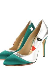 Charlotte Olympia Luna Court Shoes in Green Silk Satin and Metallic Kidskin in Green - Lyst