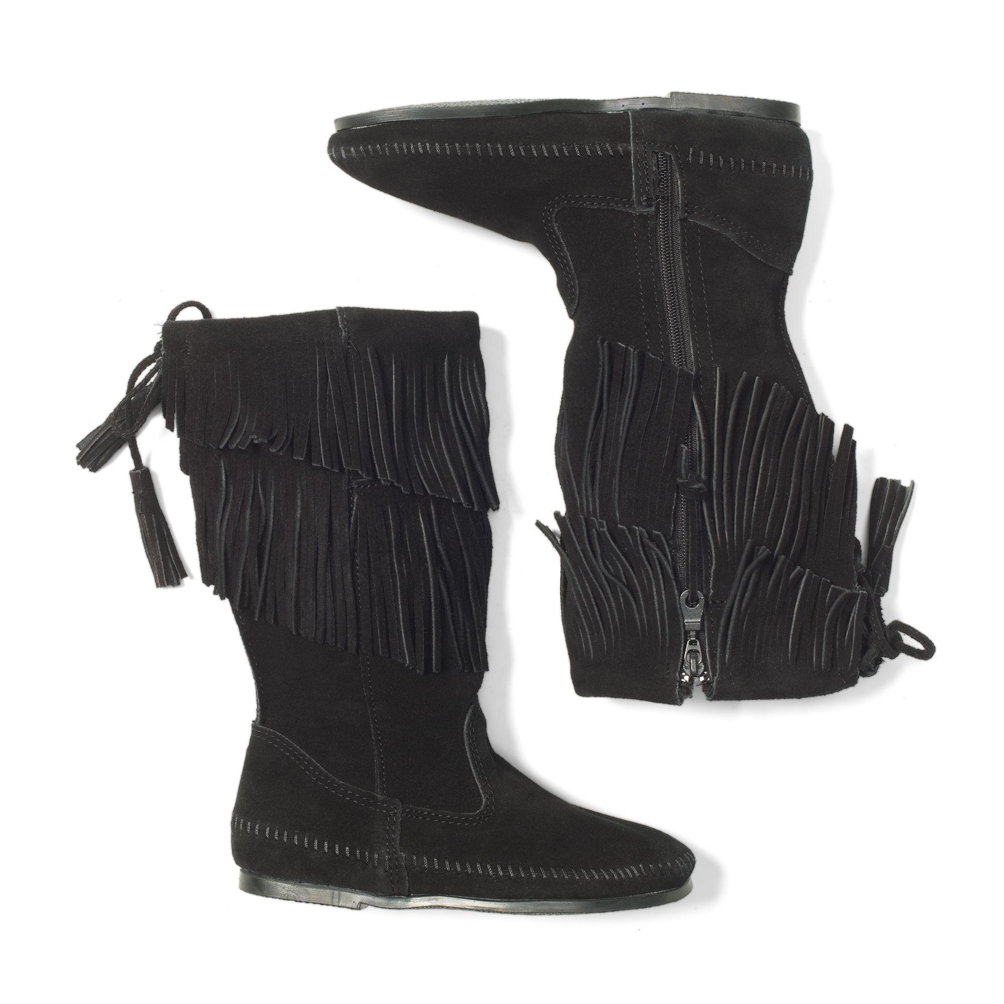 club monaco minnetonka fringe boots in black lyst