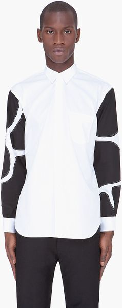 Comme Des Garçons White Contrast Sleeve Shirt in White for Men - Lyst