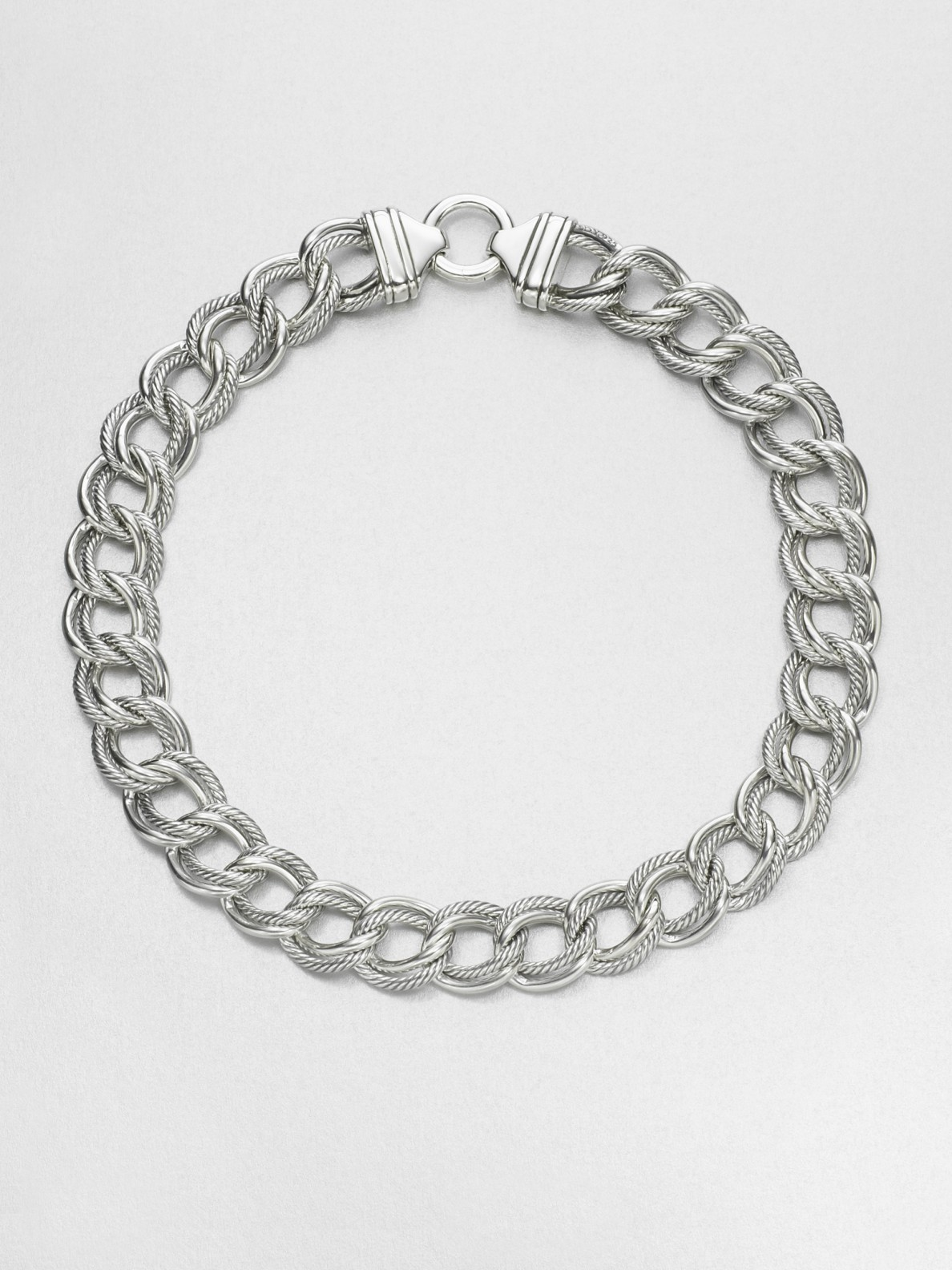 David Yurman Sterling Silver Double Chain Link Necklace In
