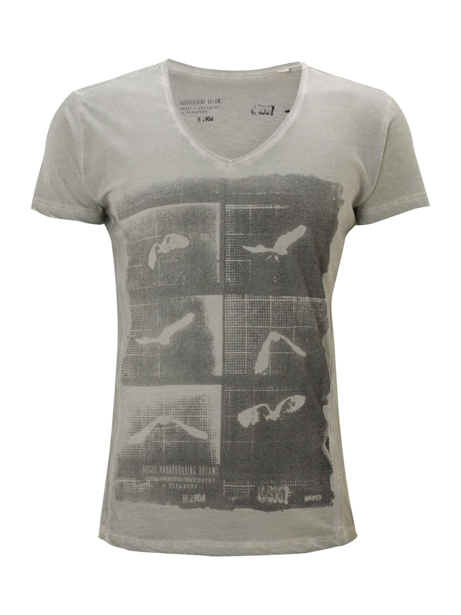 Lyst diesel bird print tshirt in white for men for T shirt printing one off
