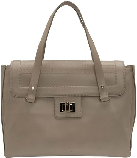 Elie Saab Large Squared Tote Bag in Gray (beige) - Lyst