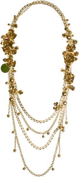 Elie Saab Long Multichain Metal Flower Necklace in Gold - Lyst