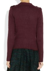 Elizabeth And James Rabbit Paneled Knitted Cardigan in Red (merlot) - Lyst