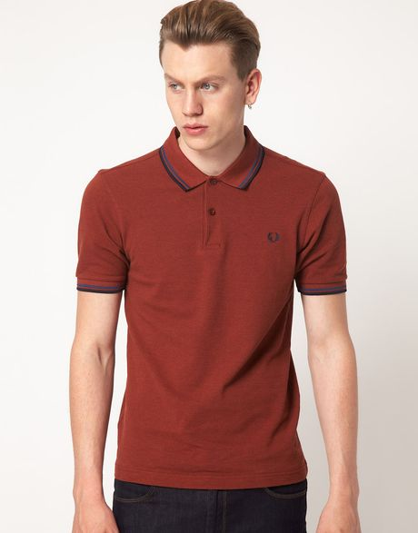 fred perry polo slim fit twin tipped in brown for men. Black Bedroom Furniture Sets. Home Design Ideas