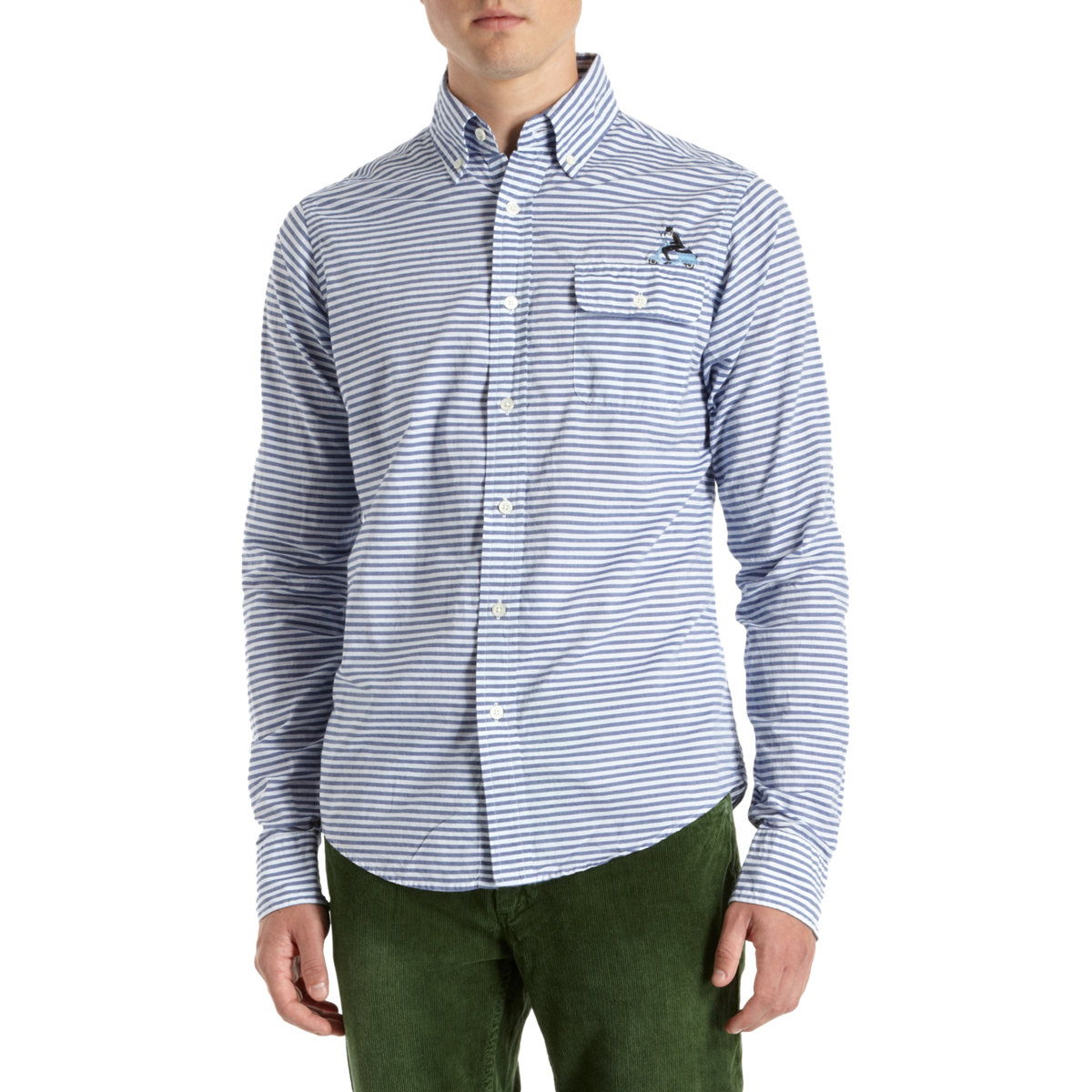 Gant by michael bastian horizontal striped shirt in white for Horizontal striped dress shirts men