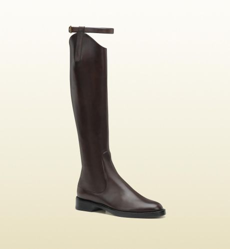 Gucci Victoria Equestrian Flat Leather Riding Boot in Brown