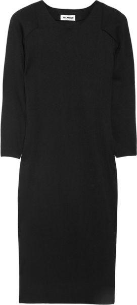Jil Sander Garden Knitted Jersey Dress in Black