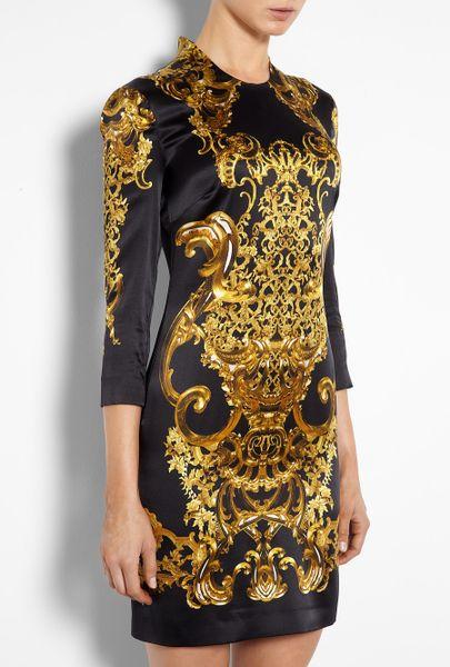 Just Cavalli Baroque Print Silk Satin Dress In Black Lyst