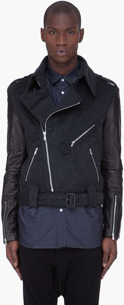 Juun.j Black Leather Sleeve Biker Jacket - Lyst