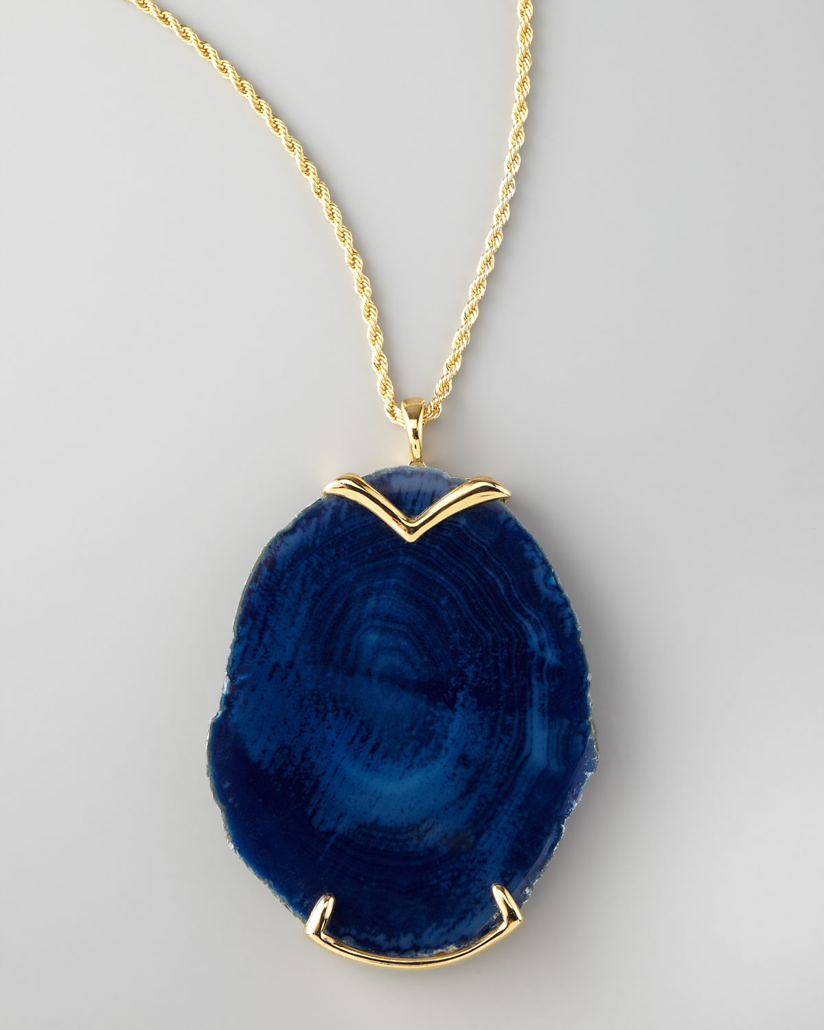 Lyst kenneth jay lane blue agate pendant necklace in blue gallery aloadofball Choice Image