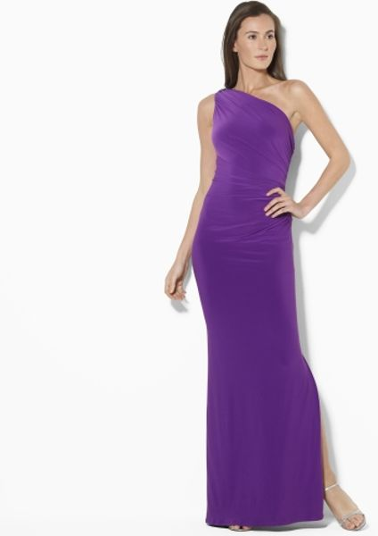 Purple  Shoulder Dress on By Ralph Lauren One Shoulder Long Dress In Purple  Deep Purple    Lyst