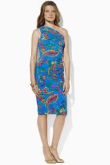 Lauren by Ralph Lauren Shirred One Shoulder Dress - Lyst