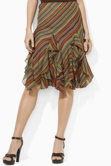 Lauren by Ralph Lauren Ruffled Striped Silk Skirt - Lyst