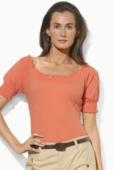 Lauren by Ralph Lauren Smocked Cotton Jersey Top - Lyst