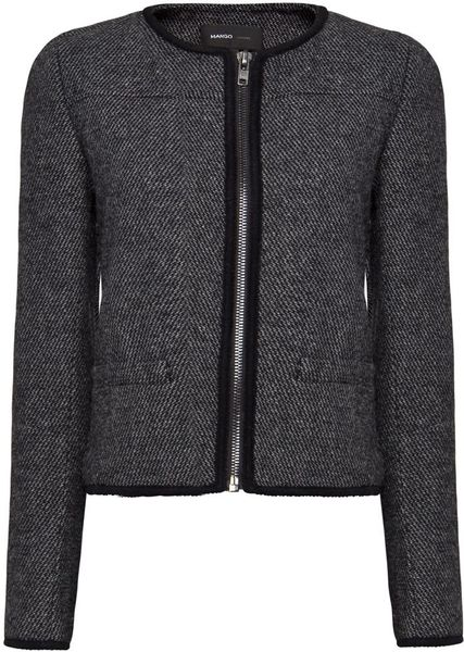 Mango Tweed Jacket in Black - Lyst