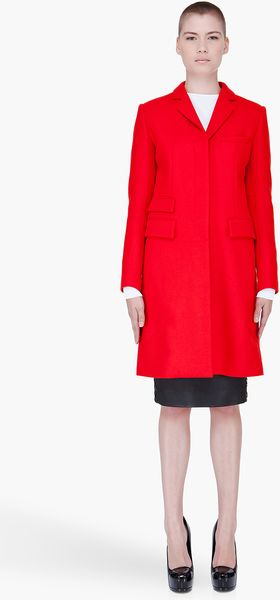 McQ by Alexander McQueen Red Wool Cashmere Coat - Lyst