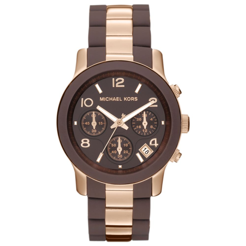 272e2e137f4a6 Lyst - Michael Kors Womens Chronograph Runway Brown Silicone and ...