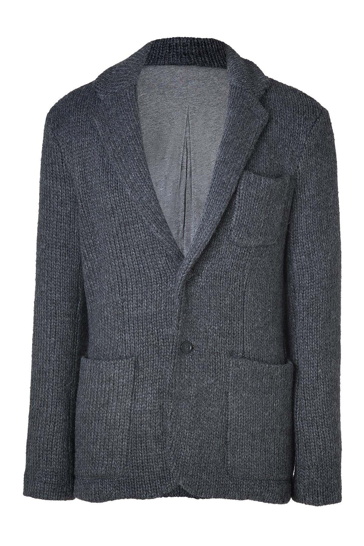 Michael Kors Charcoal Chunky Knit Blazer In Gray For Men