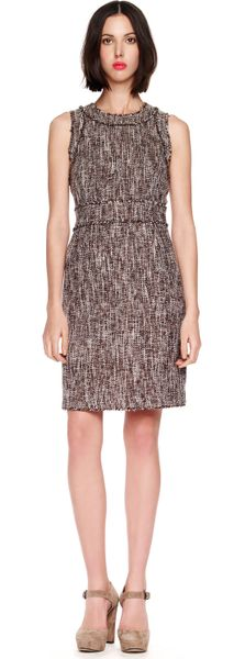 Michael Kors Fringe Trim Tweed Dress in Brown (chocolate) - Lyst