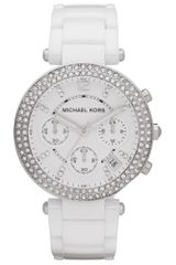 Michael Kors Womens Chronograph Parker White Ceramic Bracelet 39mm - Lyst