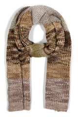 Missoni Amethystreed Green Contrast Knit Scarf in Brown (green) - Lyst