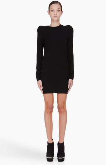 Mugler Black Padded Shoulder Dress - Lyst