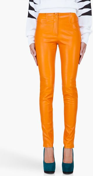 Mugler Orange Stretch Leather Pants - Lyst