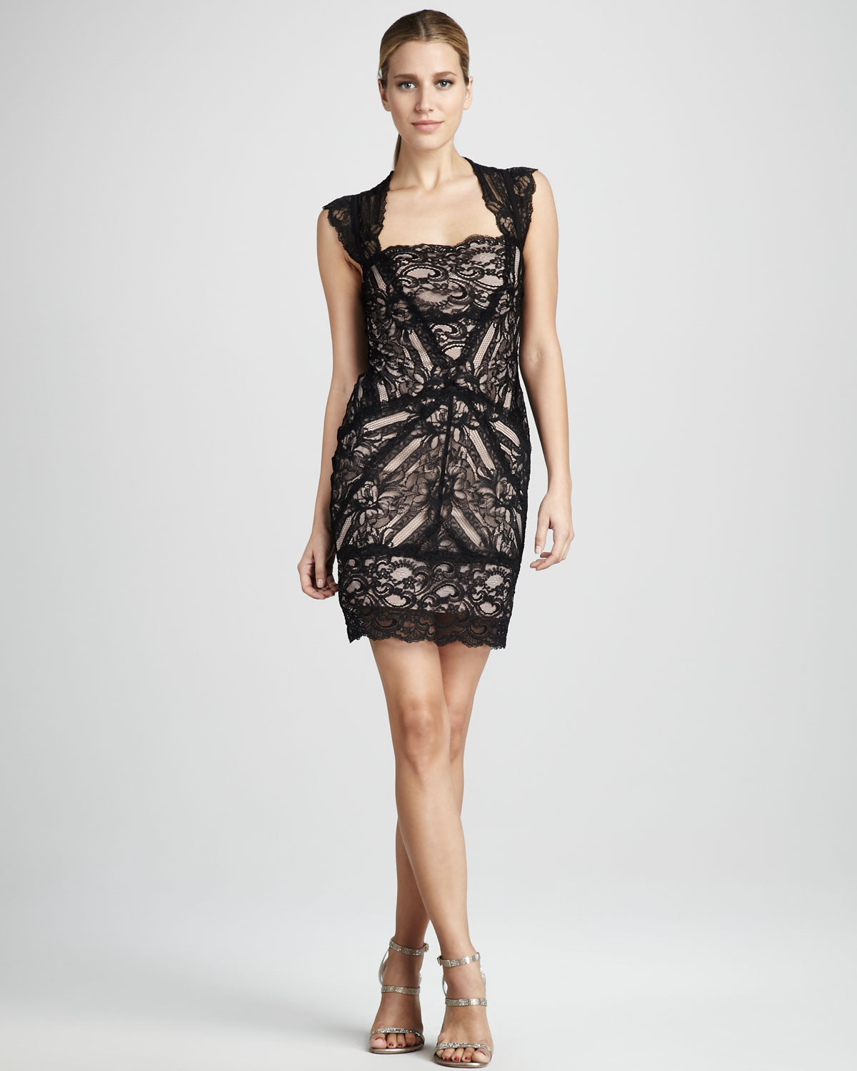 Nicole miller Stretch Lace Cocktail Dress in Metallic | Lyst