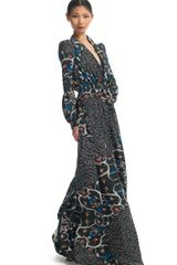 Peter Som Vine Print Crepe De Chine Dress in Floral (blue) - Lyst