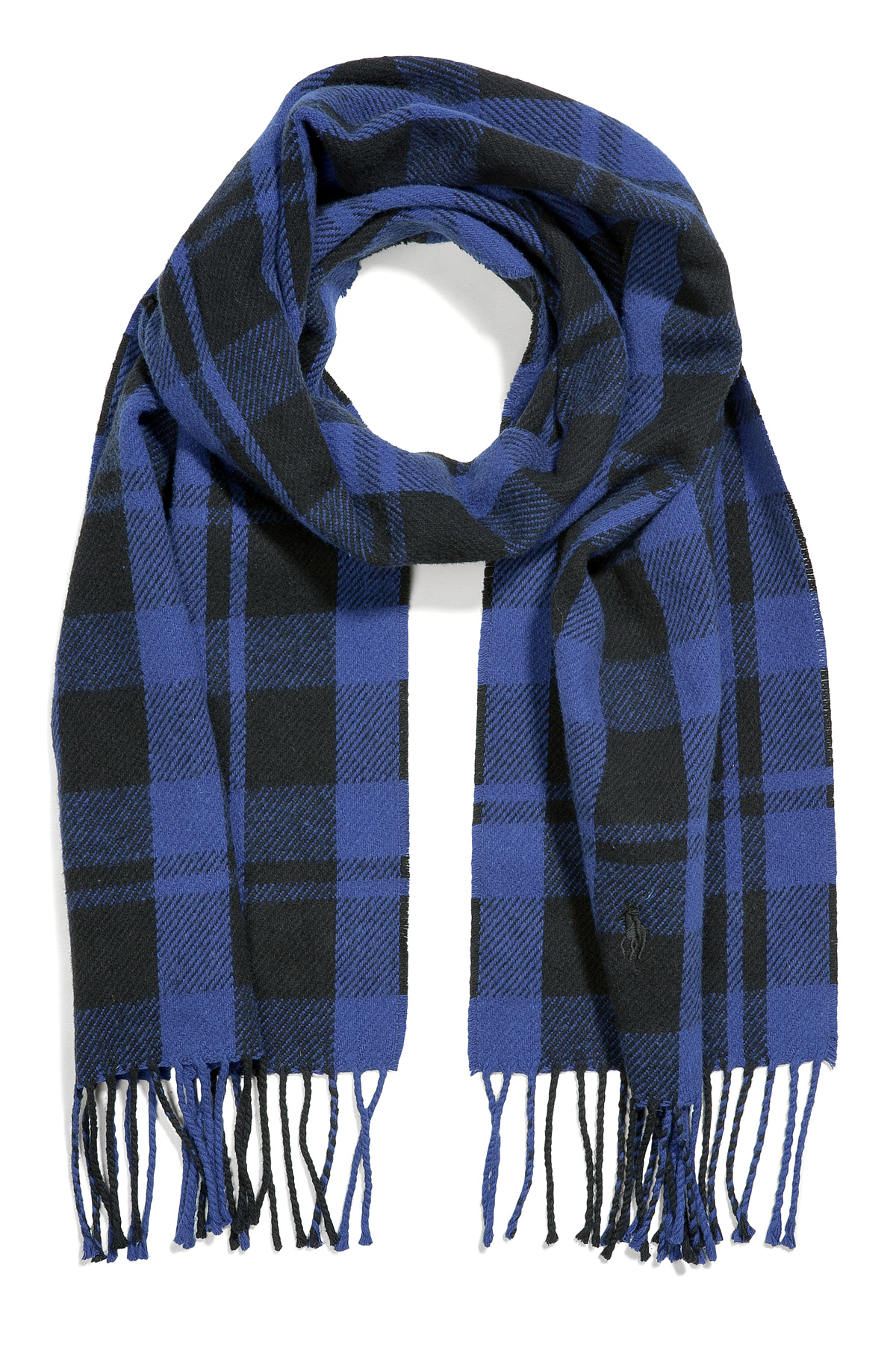 Polo ralph lauren Royal Blue and Black Plaid Cotton Scarf in Blue ...