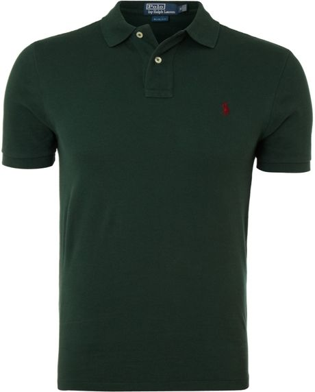 Polo ralph lauren classic slim fitted polo shirt in green for Forest green polo shirts