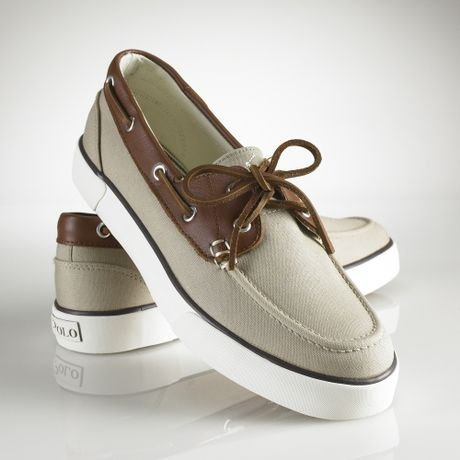 polo ralph rylander canvas boat shoes in beige for