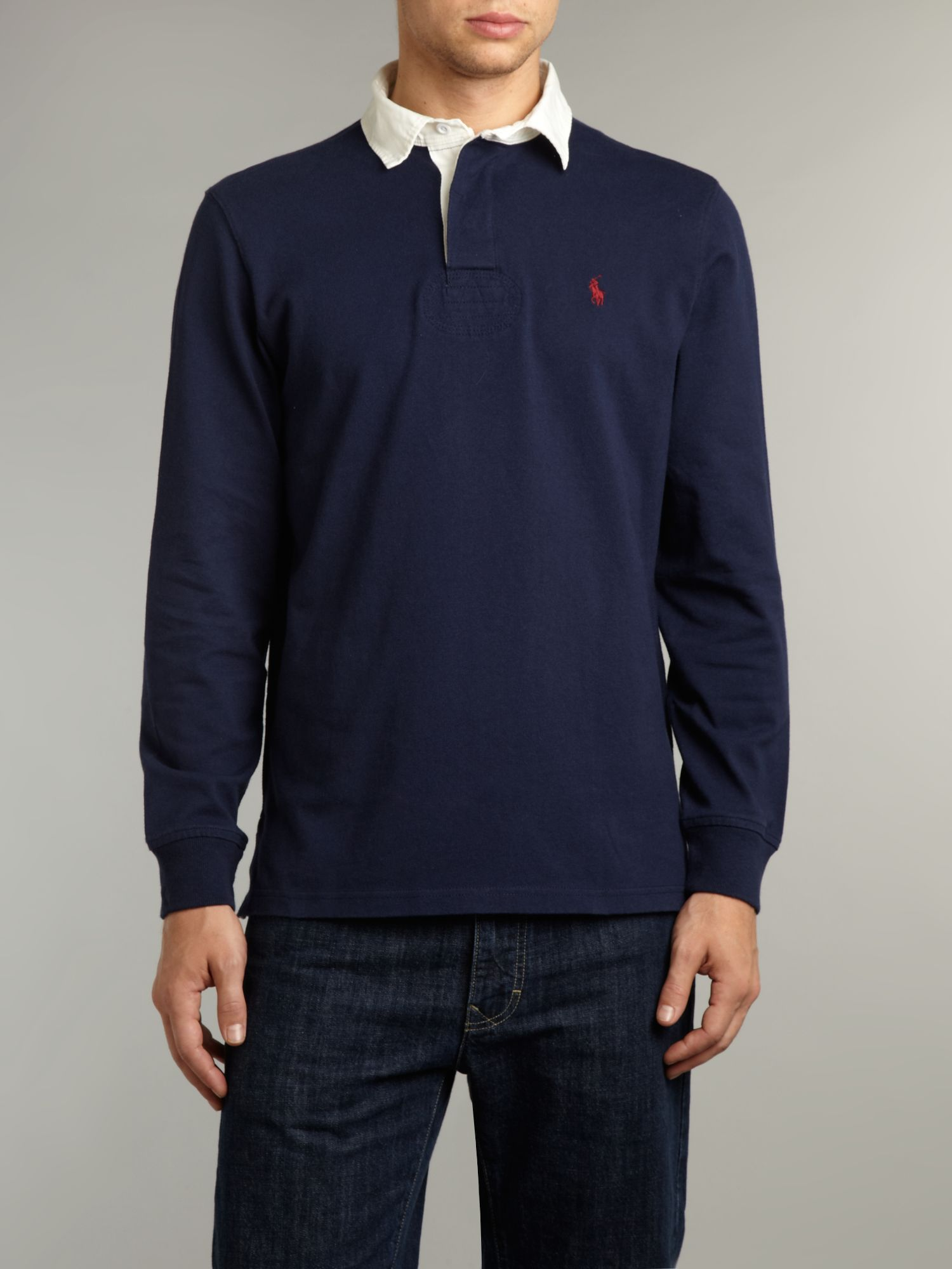 Polo Ralph Lauren Long Sleeved Classic Rugby Top In Blue