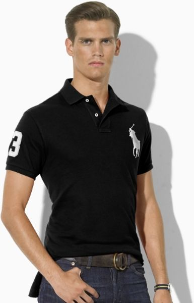 Polo Ralph Lauren Customfit Big Pony Polo in Black for Men (polo black