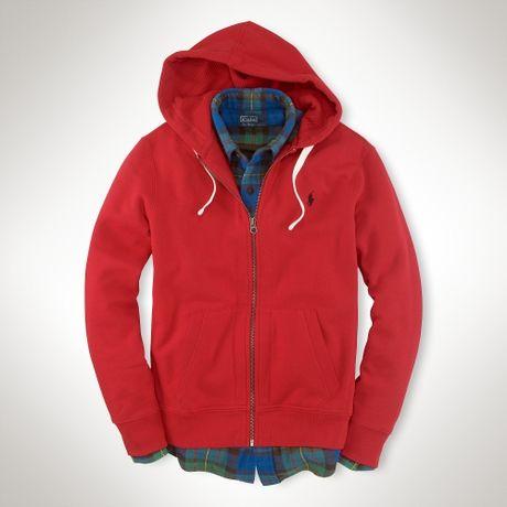 polo ralph lauren classic fleece hoodie in red for men rl 2000 red. Black Bedroom Furniture Sets. Home Design Ideas