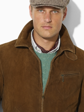 e8f24a4ebfa34 Lyst - Polo Ralph Lauren Suede Newsboy Jacket in Brown for Men