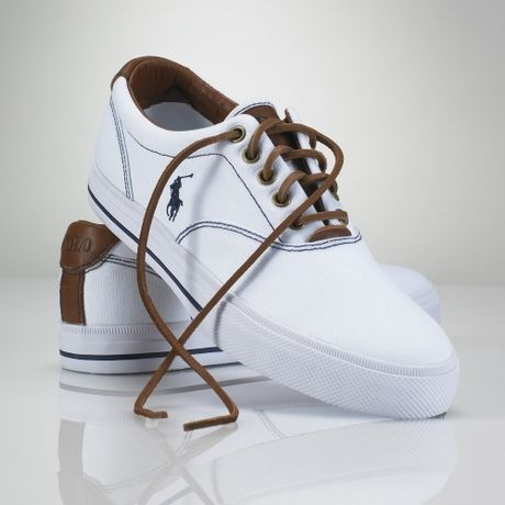 polo ralph lauren vaughn canvas sneaker in white for men lyst. Black Bedroom Furniture Sets. Home Design Ideas