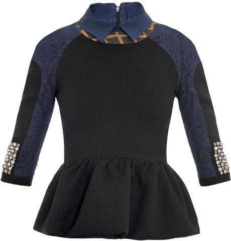 Preen Elfie Brocade and Crystal Cuff Top in Blue (black) - Lyst