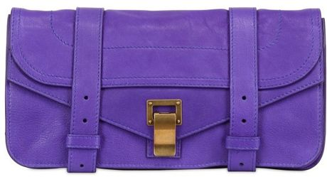 Proenza Schouler Ps1 Lux Leather Clutch in Purple - Lyst