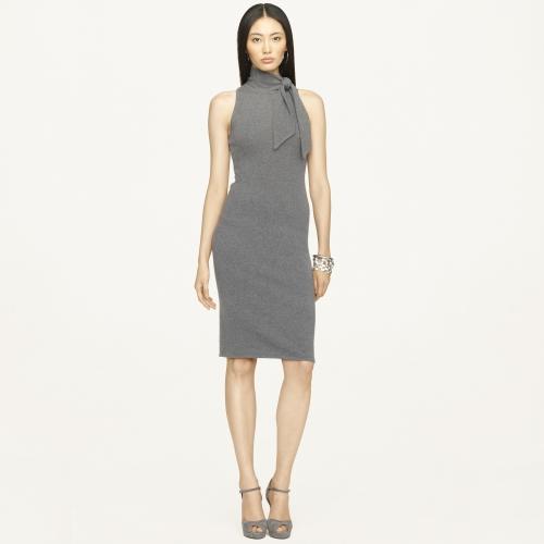 Lyst Ralph Lauren Black Label Tieneck Cashmere Dress In Gray
