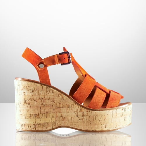 Ralph Lauren Collection Suede Wedge Sandals cheap sale eastbay buy cheap supply 0oFvRVbh