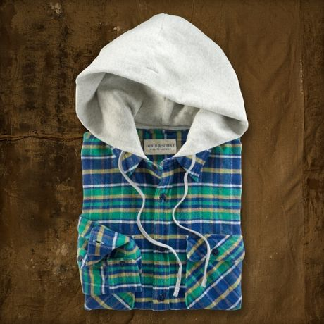 Ralph Lauren Stephen Hooded Plaid Shirt in Green for Men (stephon) - Lyst