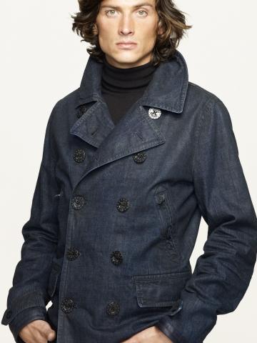 Lyst Ralph Lauren Black Label Indigo Denim Pea Coat In