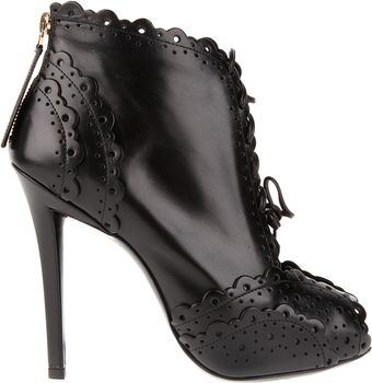 Roger Vivier Opentoe Boots in Brushed Leather with Micro Perforated Embellishment - Lyst