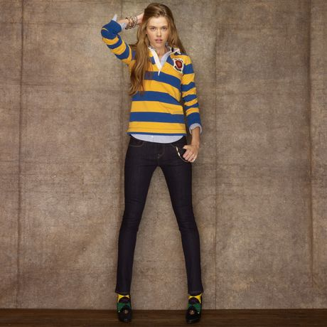 Rugby Narelle Striped Rugby in Gold (gold/royal blue)