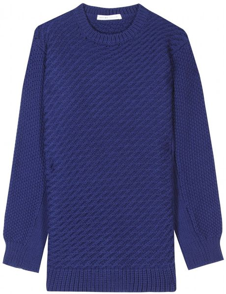 See By Chloé Contrast Knit Pullover in Blue