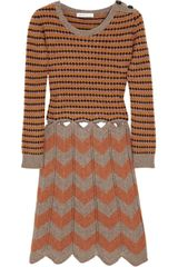 See By Chloé Cutout Striped Wool Dress in Brown - Lyst