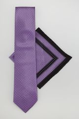 Stefano Ricci Silk Tie Pocket Square Set Purple - Lyst