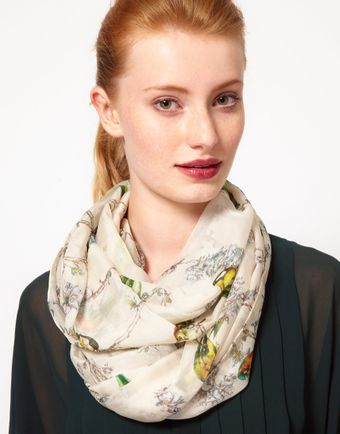 Ted Baker Silk Bird Print Long Scarf - Lyst